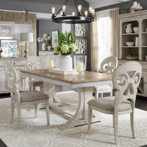 Farmhouse Reimagined 5 Piece Trestle Table Set
