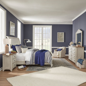 Farmhouse Reimagined Queen Sleigh Bed, Dresser & Mirror, Night Stand