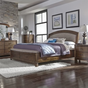 Avalon King Storage Bed, Nightstand, Dresser & Lighted Mirror