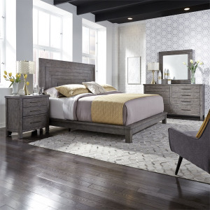 Modern Farmhouse King California Platform Bed, Dresser & Mirror, Night Stand