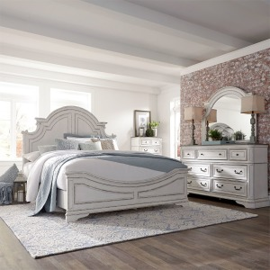 Magnolia California King Panel Bed, Dresser & Mirror, Chest