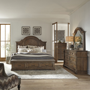 Haven Hall King Storage Bed, Dresser & Mirror, Chest