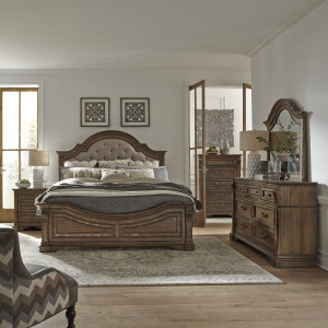 Haven Hall King Opt Panel Bed, Dresser & Mirror, Chest, Night Stand