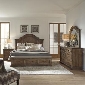 Haven Hall Queen Storage Bed, Dresser & Mirror, Night Stand