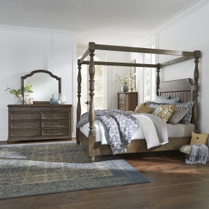 Homestead King Canopy Bed, Dresser & Mirror, Chest