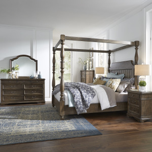 Homestead King Canopy Bed, Dresser & Mirror, Chest, Night Stand
