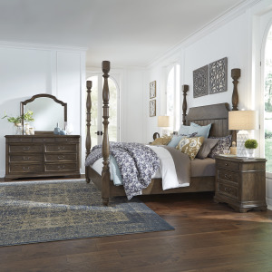 Homestead King Poster Bed, Dresser & Mirror, Night Stand