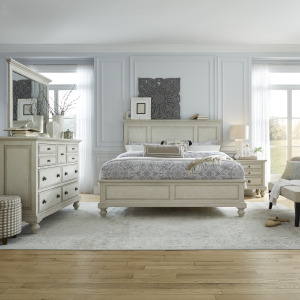 High Country King California Panel Bed, Dresser & Mirror, Night Stand