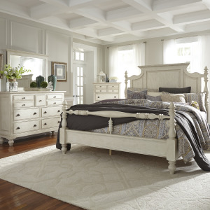 High Country King Poster Bed, Dresser & Mirror, Chest
