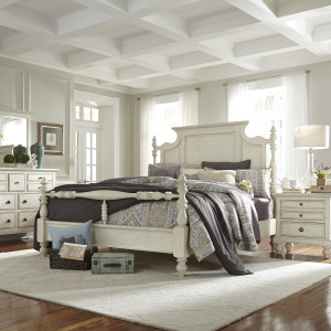 High Country King Poster Bed, Dresser & Mirror, Night Stand
