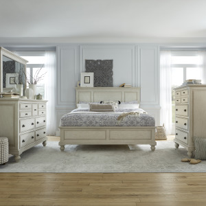 High Country Queen Panel Bed, Dresser & Mirror, Chest