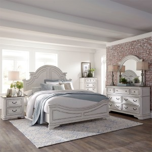 Magnolia Manor King Panel Bed, Dresser & Mirror, Chest, N/S