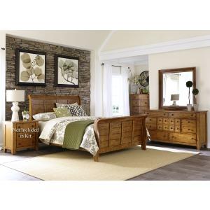 Grandpas Cabin Queen Sleigh Bed, Dresser & Mirror, Chest