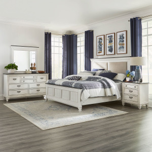 Allyson Park Queen Uph Bed, Dresser & Mirror, Night Stand