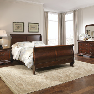 Carriage Court King Sleigh Bed, Dresser & Mirror, Chest, Night Stand