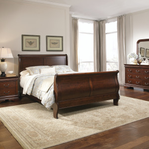 Carriage Court King Sleigh Bed, Dresser & Mirror, Night Stand