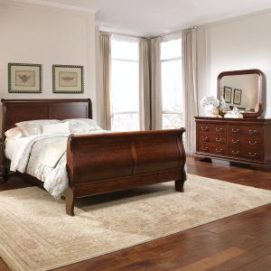 Carriage Court Queen Sleigh Bed, Dresser & Mirror
