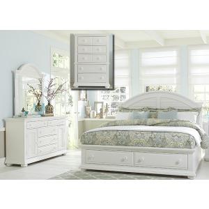 Summer House I Queen Storage Bed, Dresser & Mirror, Chest