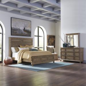 The Laurels King California Panel Bed, Dresser & Mirror