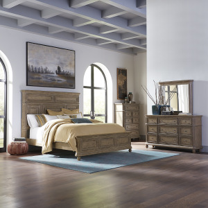 The Laurels King California Panel Bed, Dresser & Mirror, Chest