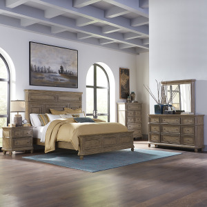 The Laurels King California Panel Bed, Dresser & Mirror, Chest, Night Stand