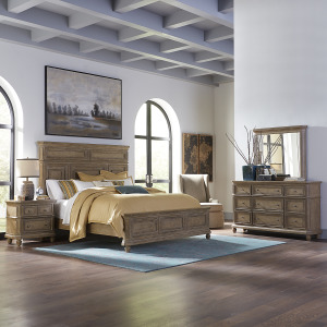 The Laurels King California Panel Bed, Dresser & Mirror, Night Stand