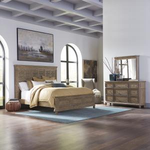 The Laurels King Opt California Panel Bed, Dresser & Mirror