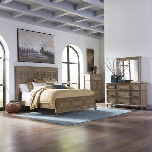 The Laurels King Opt California Panel Bed, Dresser & Mirror, Chest