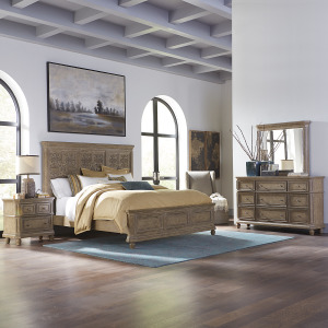 The Laurels King Opt California Panel Bed, Dresser & Mirror, Night Stand