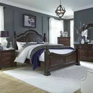 Messina Estates King Poster Bed, Dresser & Mirror, Chest, Night Stand