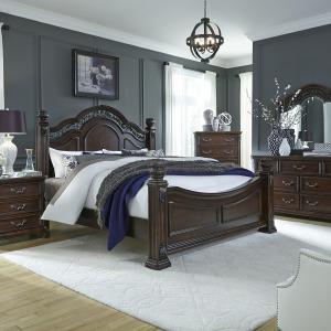 Messina Estates King Poster Bed, Dresser & Mirror, Night Stand