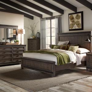 Thornwood Hills King California Panel Bed, Dresser & Mirror, Chest