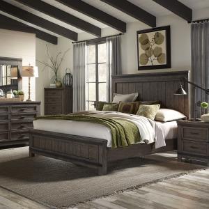 Thornwood Hills King California Panel Bed, Dresser & Mirror, Night Stand