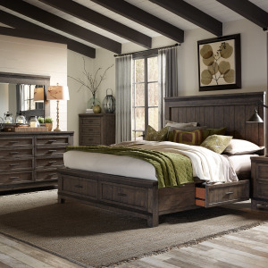 Thornwood Hills King Two Sided Storage Bed, Dresser & Mirror, Chest