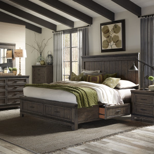 Thornwood Hills King Two Sided Storage Bed, Dresser & Mirror, Chest, Night Stand