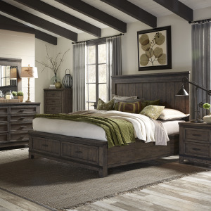 Thornwood Hills King Two Sided Storage Bed, Dresser & Mirror, Night Stand