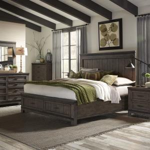 Thornwood Hills King Storage Bed, Dresser & Mirror, Night Stand