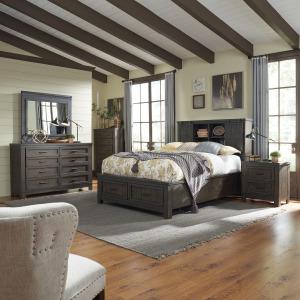 Thornwood Hills Queen Bookcase Bed, Dresser & Mirror, Chest, Night Stand