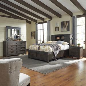 Thornwood Hills Queen Bookcase Bed, Dresser & Mirror, Night Stand