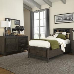 Thornwood Hills Twin Bookcase Bed, Dresser & Mirror