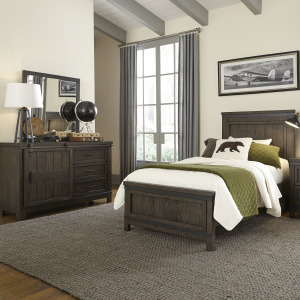 Thornwood Hills Twin Panel Bed, Dresser & Mirror