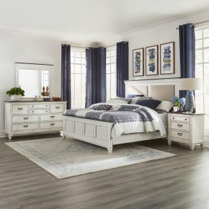 Allyson Park King California Upholstered Bed, Dresser & Mirror, Night Stand