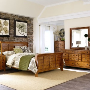 Grandpa's Cabin King Sleigh Bed, Dresser & Mirror