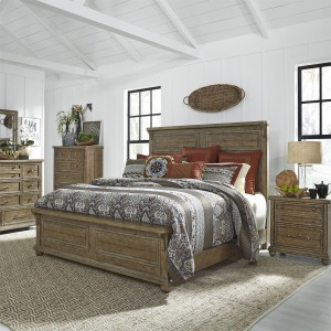 Harvest Home King Panel Bed, Dresser & Mirror, Chest, N/S