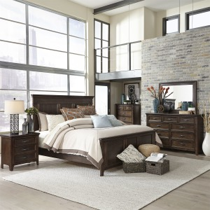 Saddlebrook King Panel Bed, Dresser & Mirror, Chest, NS
