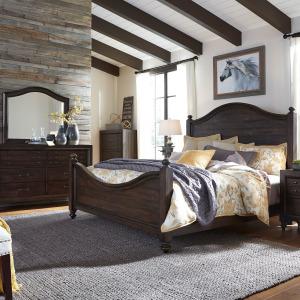 Catawba Hills King California Poster Bed, Dresser & Mirror, Chest