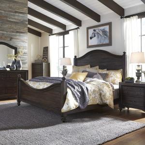 Catawba Hills King California Poster Bed, Dresser & Mirror, Chest, Night Stand