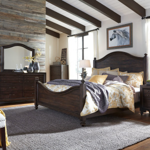 Catawba Hills King California Poster Bed, Dresser & Mirror, Night Stand