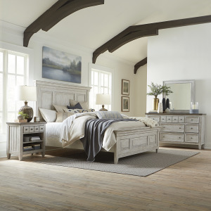 Heartland King California Panel Bed, Dresser & Mirror, Night Stand