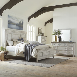 Heartland King Panel Bed, Dresser & Mirror, Chest